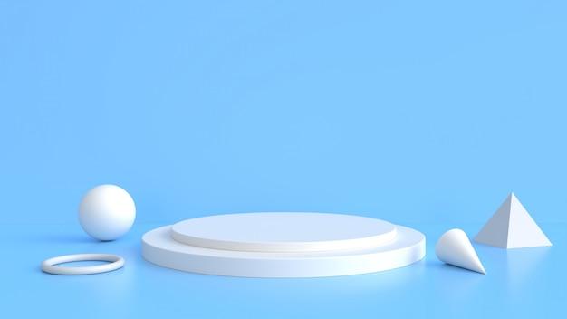 Stand di prodotto bianco su sfondo blu. concetto astratto geometria minima.