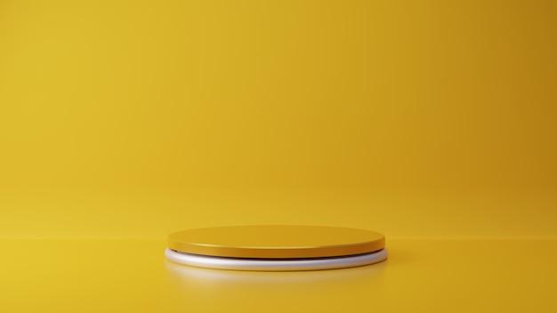 Stand di prodotto giallo su sfondo