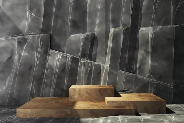 Stand di prodotto in legno con parete di roccia