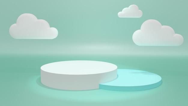 Stand espositivo, podio rotondo, colore pastello. 3d illustrazione, rendering 3d.