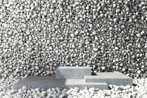 Stand prodotto in pietra con piastrelle di roccia