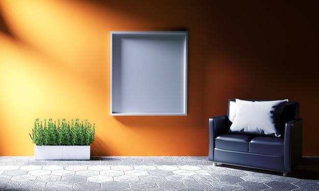 Stanza arancione sulla piastrella esagonale. 3d ridistribuzione