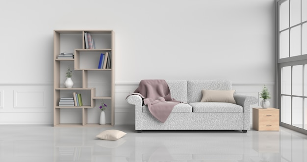 Stanza bianca con divano color crema, fiori, cuscini, comodini, libreria, coperta, finestra, moquette.3d r