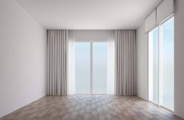 Stanza bianca con pavimento in legno e porte scorrevoli con tende