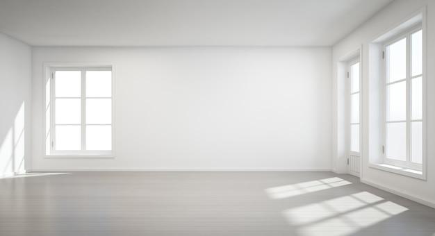 Stanza bianca d'annata con la porta e finestra nella nuova casa - rappresentazione 3d