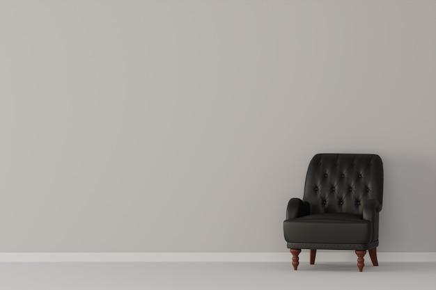 Stanza bianca vuota con divano in pelle nera. rendering 3d.