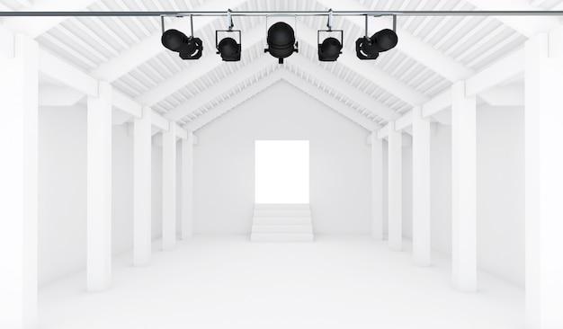 Stanza bianca vuota con il riflettore - prospettiva 3d