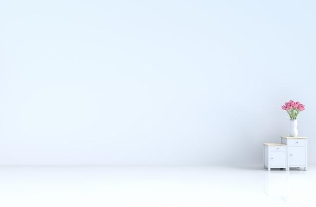 Stanza bianca vuota con muro di cemento, piastrelle, tulipano. san valentino, capodanno. rendering 3d