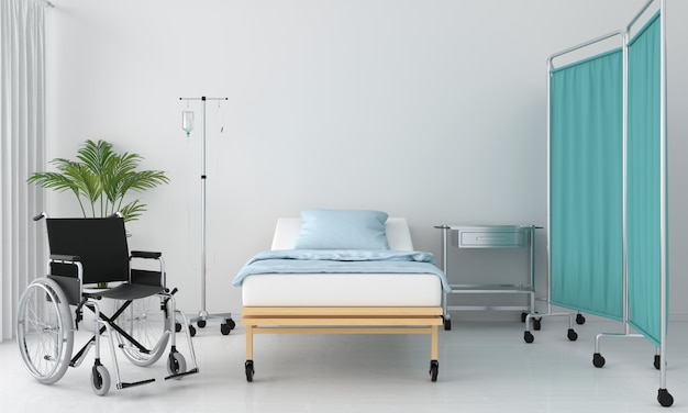 Stanza d'ospedale con letto e tavolo