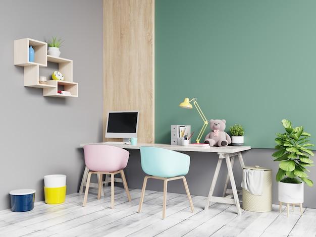 Stanza dell'ufficio su colore verde e grigio