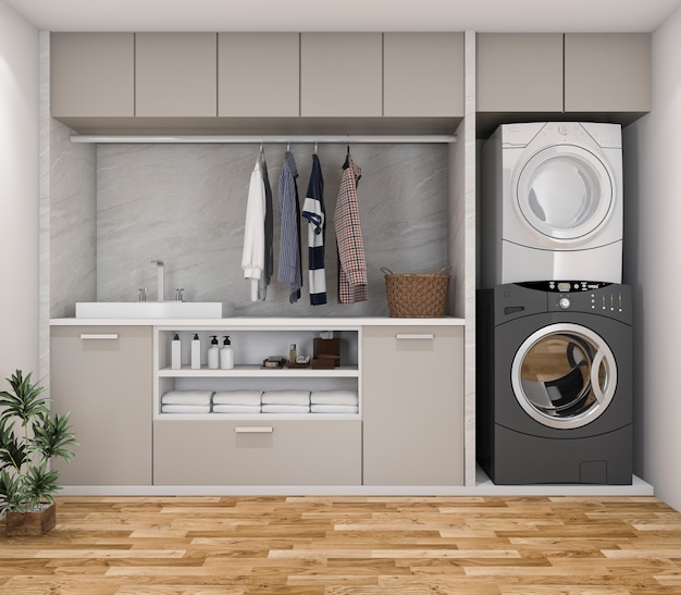 Stanza di lavanderia minima di legno della rappresentazione 3d con la pianta