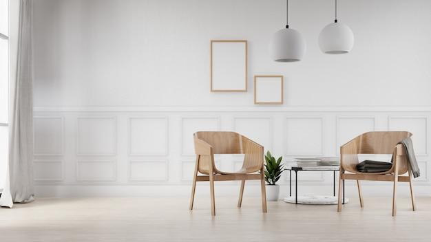 Stanza domestica interna con le sedie, la tavola e la parete bianca in bianco. rendering 3d.