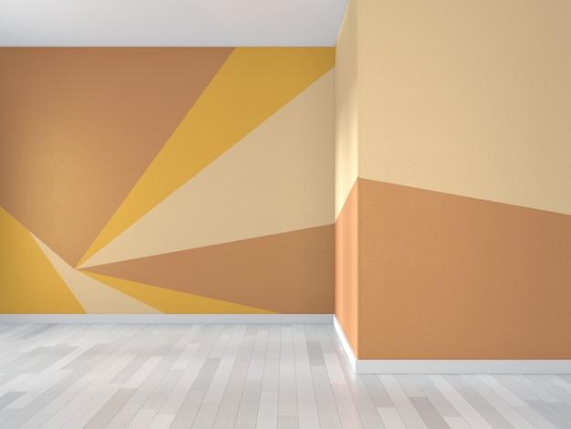 Stanza gialla e arancione geometrica arte della parete vernice a colori in pieno stile sul pavimento di legno. rendering 3d