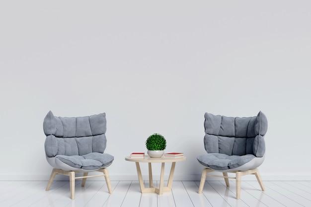 Stanza interna interna del salone con la poltrona piacevole su fondo bianco con. rendering 3d