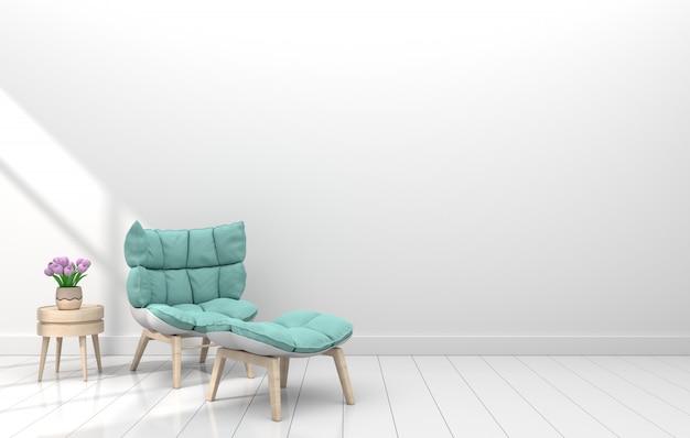 Stanza interna moderna con la poltrona e fiore nella stanza bianca
