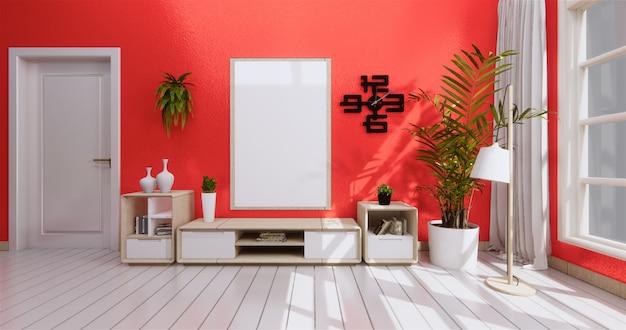 Stanza moderna zen sulla parete di corallo vivente di legno