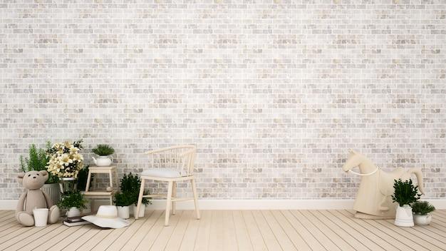 Stanza per bambini o area soggiorno in casa o appartamento - rendering 3d