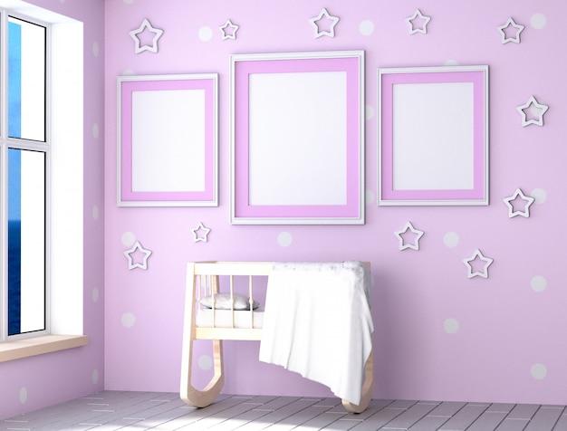 Stanza rosa da ragazza piena di luce del giorno. culla di legno, cuscino e coperta
