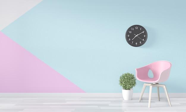 Stanza rosa vuota sul pavimento di legno. rendering 3d