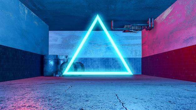 Stanza sotterranea 3d stile grunge e triangolo neon, con retroilluminazione di colore rosso e blu.