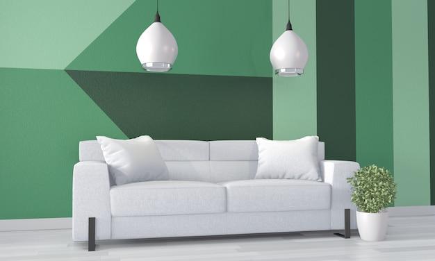 Stanza verde geometrica arte della parete di vernice colore pieno stile sul pavimento di legno. rendering 3d