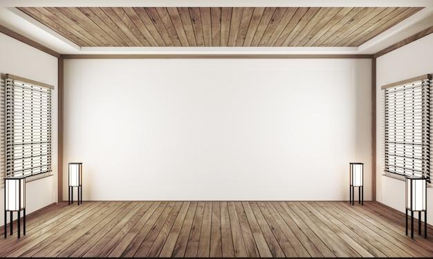 Stanza vuota al coperto stile giapponese. rendering 3d