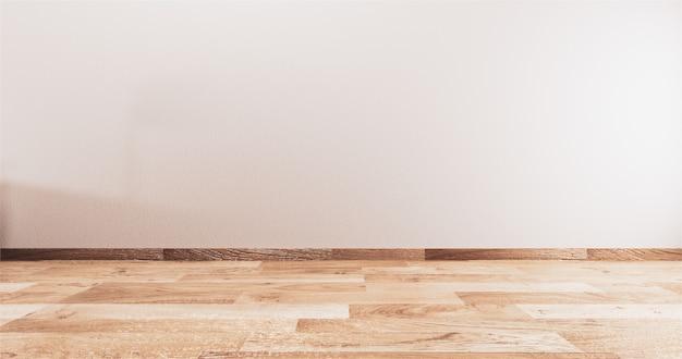 Stanza vuota bianca sul pavimento in legno interno