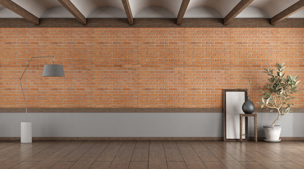 Stanza vuota con muro di mattoni, lampada fllor e pianta d'appartamento - rendering 3d