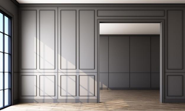Stanza vuota con pannelli grigi e pavimento in legno