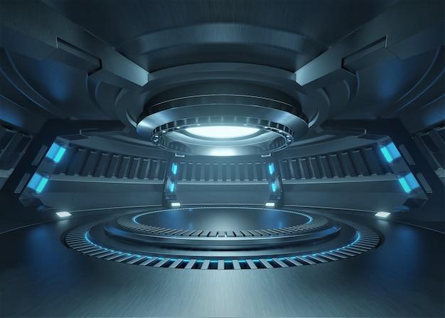 Stanza vuota dello studio blu-chiaro interno futuristico con la fase vuota con luci blu