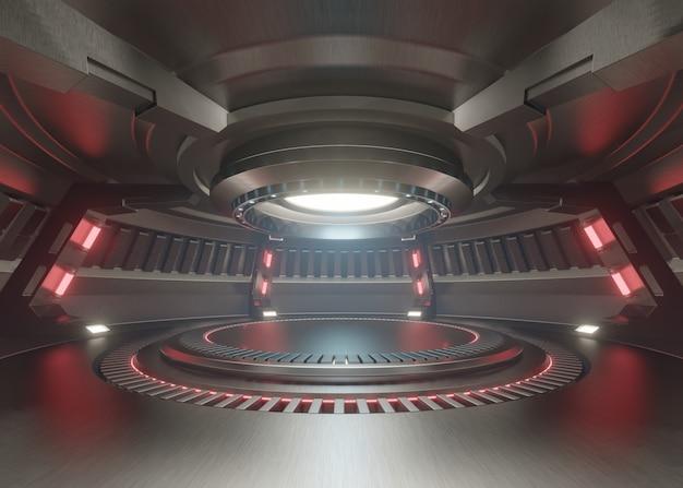 Stanza vuota dello studio blu-chiaro interno futuristico con la fase vuota con luci rosse.