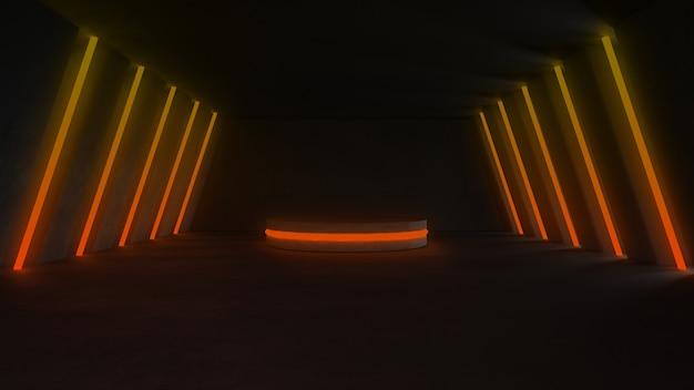 Stanza vuota di cemento con luci al neon