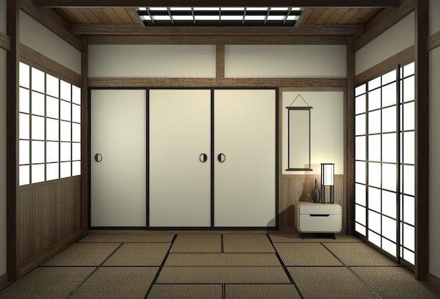 Stanza vuota in stile giapponese con porta in stile giapponese.