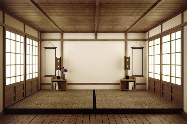 Stanza vuota in stile giapponese. rendering 3d