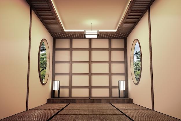 Stanza vuota interno in stile giapponese. rendering 3d