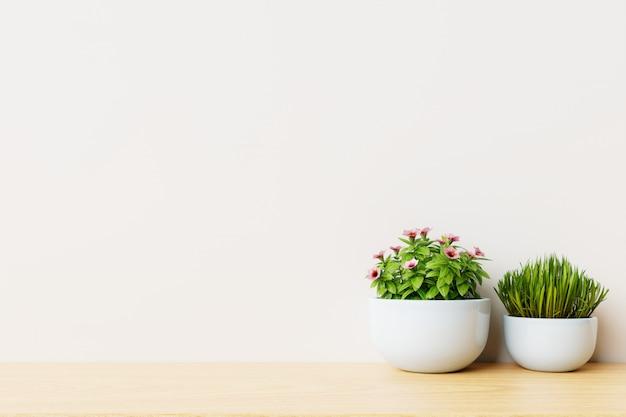 Stanza vuota moderna con le piante sulla parete di legno e bianca del pavimento.