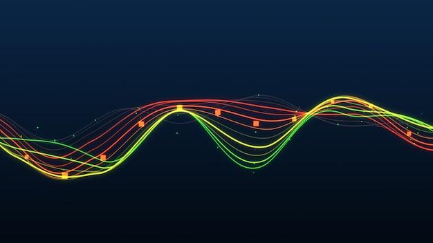 Statistiche di linee incandescente grafico astratto.