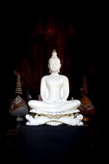 Statua bianca del buddha in tempiale tailandese di lanna