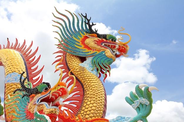 Statua cinese del drago contro il fondo del cielo e della nuvola.