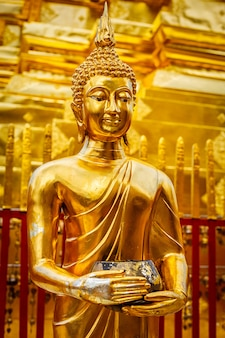 Statua d'oro del buddha in wat phra that doi suthep