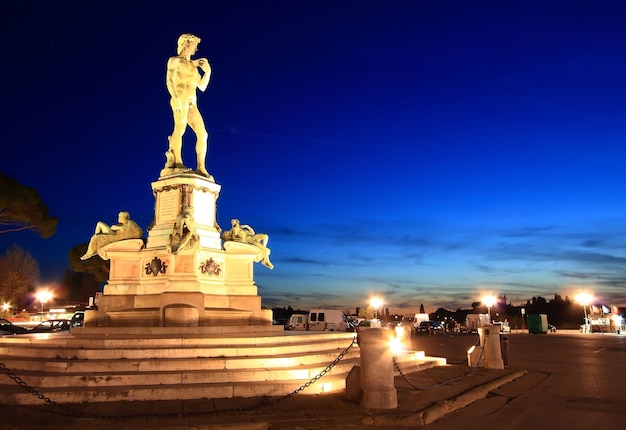 Statua del david, situata in micheal angelo park firenze, italia