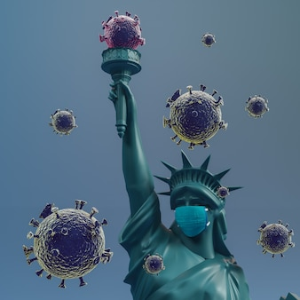 Statua della libertà indossare maschera chirurgica. salva gli stati uniti da coronavirus covid 19. rendering 3d.