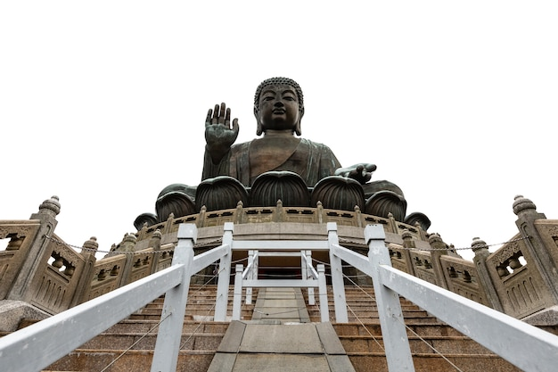 Statua di bhuddha di abbronzatura del tian sulla montagna e sulla porcellana bianca di hong kong del fondo