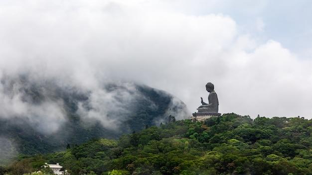Statua di tan bhuddha di tian sulla montagna nella stagione delle piogge e nebbia