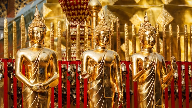 Statue di buddha d'oro in wat phra that doi suthep