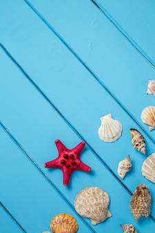 Stella di mare e conchiglie su fondo blu di legno.
