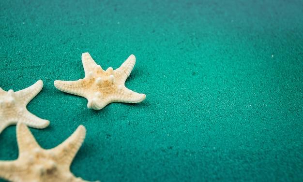 Stelle marine sullo spazio verde della copia della sabbia. sabbia colorata.