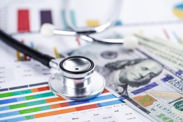 Stetoscopio su banconote in dollari usa, finanza, conto, statistiche, dati di ricerca analitica.