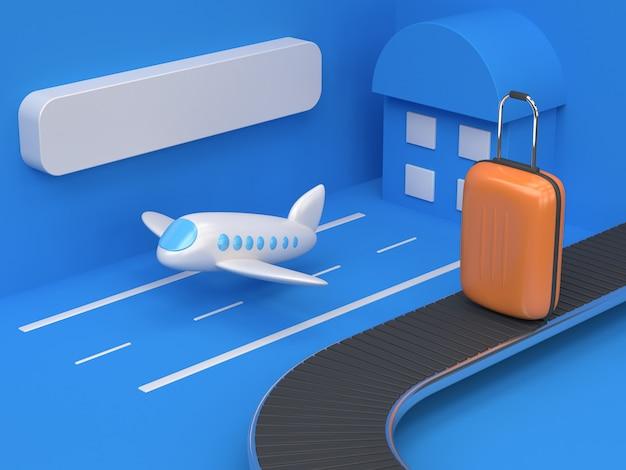 Stile del fumetto dell'aeroporto astratto geometrico con bagluggage arancione rendering 3d concetto di trasporto