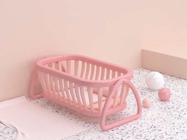 Stile del fumetto della culla del bambino della parete di rosa del pavimento di marmo della rappresentazione 3d